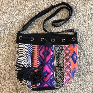 Bright patterned cross body bag